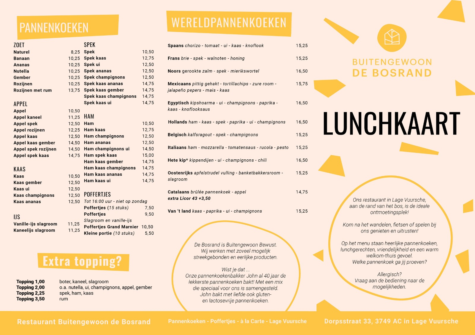 Lunchkaart restaurant De Bosrand Lage Vuursche