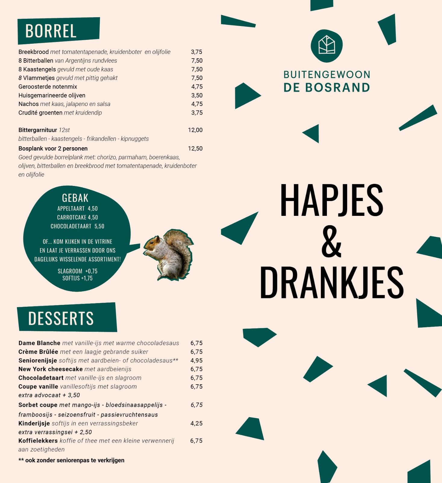 Borrelkaart restaurant De Bosrand Lage Vuursche