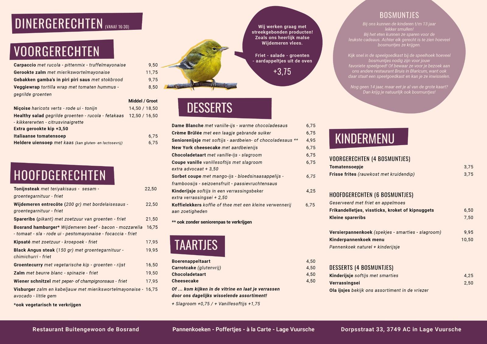 Dinerkaart restaurant Bosrand Lage Vuursche